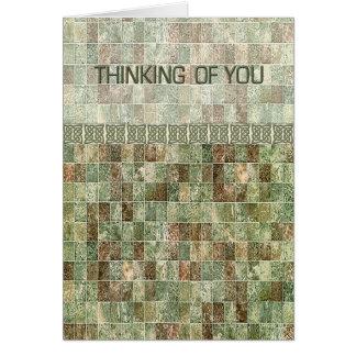 Tuile verte pensant à vous cartes