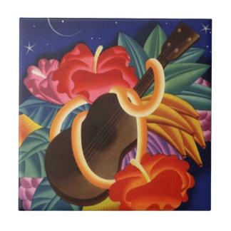 Tuile vintage de nuits d'Hawaï de ketmie d'Ukelele Petit Carreau Carré