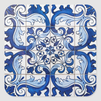Tuiles antiques d'Azulejo Sticker Carré