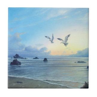Tuiles de cuisine de thème de plage de marées de petit carreau carré