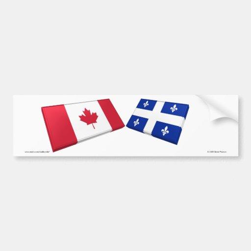 Tuiles de drapeau du Canada et du Québec Autocollant Pour Voiture