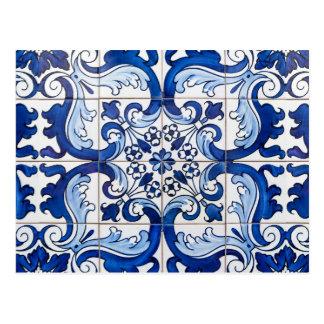 Tuiles vitrées d'Azulejo de Portugais Carte Postale