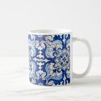 Tuiles vitrées par Azulejo de Portugais Mug Blanc