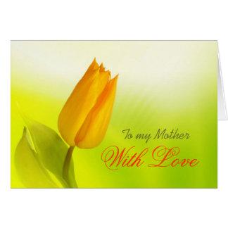 Tulipe jaune, à ma mère avec amour carte de vœux