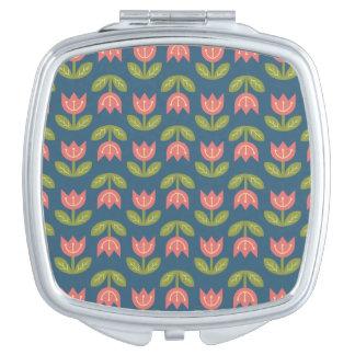 Tulipe rouge scandinave à la mode sur l'arrière - miroir de poche