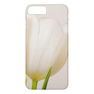 Tulipes blanches sur un fond blanc, coque iPhone 7 plus