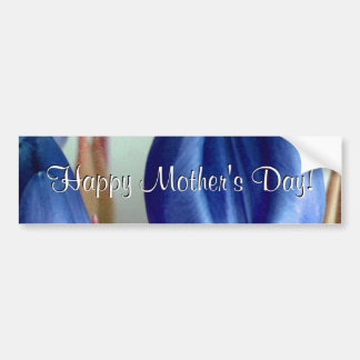 Tulipes bleues heureuses du jour de mère adhésifs pour voiture