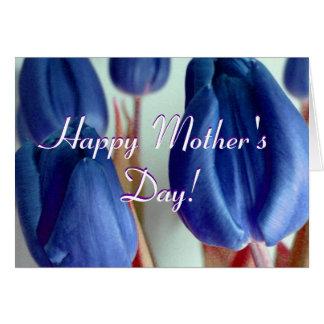 Tulipes bleues heureuses du jour de mère cartes de vœux