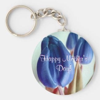 Tulipes bleues heureuses du jour de mère porte-clef