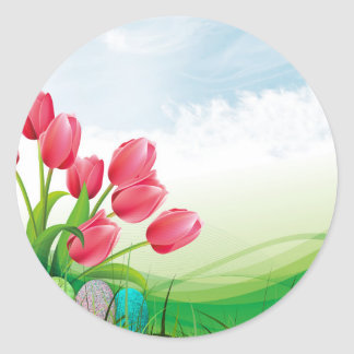 Tulipes de ressort et oeufs de pâques sticker rond