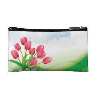 Tulipes de ressort et oeufs de pâques trousses de toilette