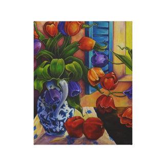 Tulipes et pommes - copie de toile