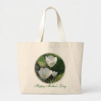 Tulipes heureuses de blanc du jour de mère sac en toile jumbo