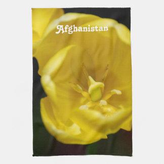 Tulipes jaunes de l'Afghanistan Serviette Éponge