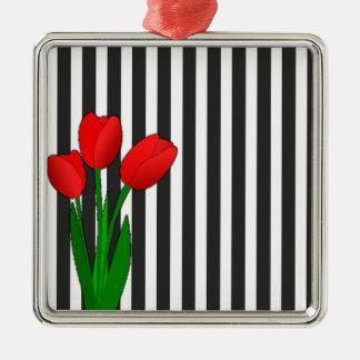 Tulipes Ornement Carré Argenté