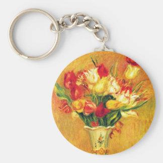 Tulipes par Pierre Renoir, art vintage Porte-clé Rond