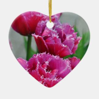 Tulipes roses de perroquet ornement cœur en céramique
