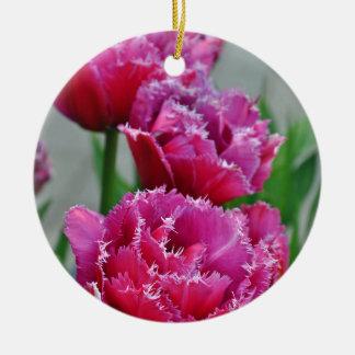 Tulipes roses de perroquet ornement rond en céramique