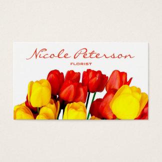 tulipes rouges et jaunes - fleuriste cartes de visite