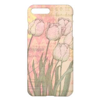 Tulipes vintages sur l'arrière - plan floral coque iPhone 7 plus