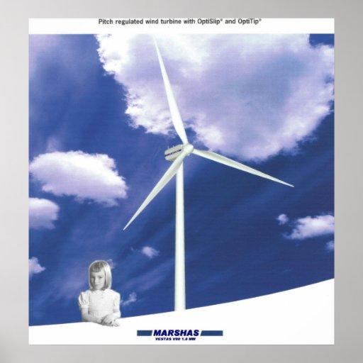 Turbine de vent de VESTAS V-80 Poster