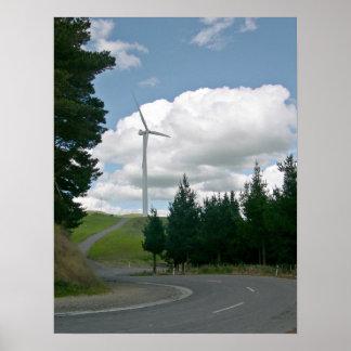 Turbines de vent dans la campagne posters