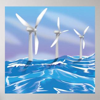 Turbines d'énergie éolienne de mer affiches