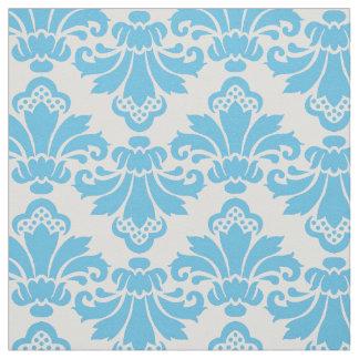 Turquoise antique/blanc de tissu de damassé de