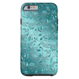 Turquoise brillante de Paisley Coque iPhone 6 Tough