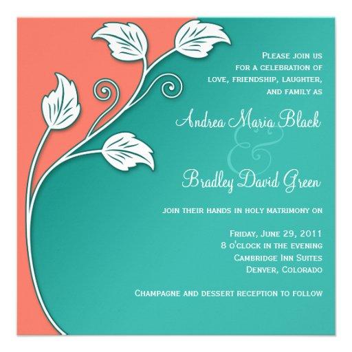 Turquoise, corail, et faire-part de mariage blanc