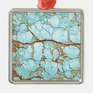 Turquoise criquée rouillée ornement carré argenté