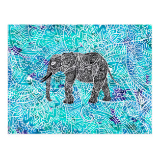 Turquoise de bleu d'éléphant de boho de Paisley de Carte Postale