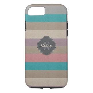 Turquoise de monogramme, brun et violette barrée coque iPhone 7