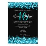Turquoise d'étincelles de partie de sweet sixteen faire-part personnalisés