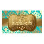 Turquoise d'or somptueuse de miroitement de la dam modèles de cartes de visite