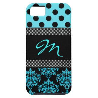 Turquoise et cas Girly de l'iphone 5 de monogramme Coque Case-Mate iPhone 5