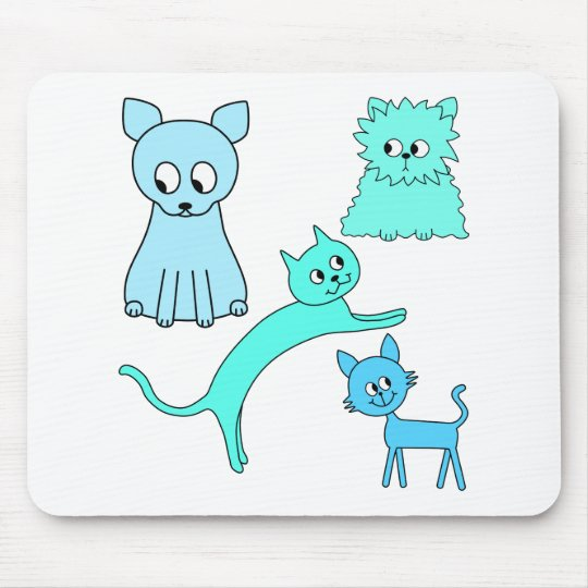 turquoise et chats bleus tapis de souris zazzle. Black Bedroom Furniture Sets. Home Design Ideas