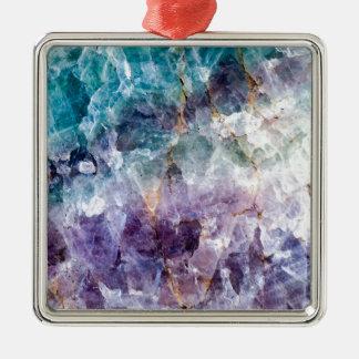 Turquoise et cristal de quartz pourpre ornement carré argenté
