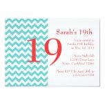 Turquoise et invitation de corail d'anniversaire