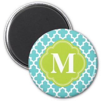Turquoise et monogramme fait sur commande marocain magnet rond 8 cm