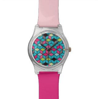 Turquoise et motif rose de cube montres cadran