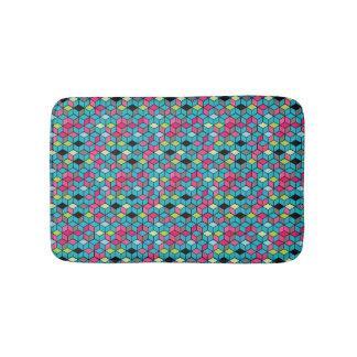 Turquoise et motif rose de cube tapis de bain