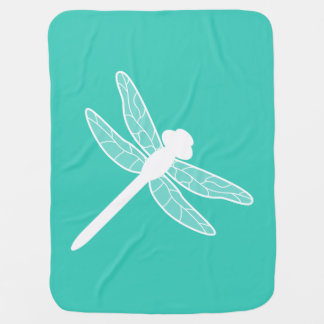 Turquoise et silhouette blanche de libellule couvertures de bébé