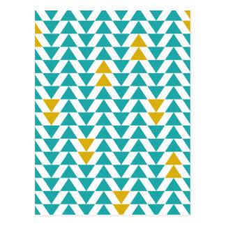 Turquoise et triangles jaunes carte postale