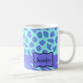 Turquoise et zèbre et guépard de lavande mug