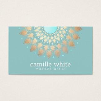 Turquoise fleurie de motif d'or élégant de cartes de visite