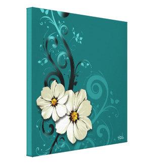 Turquoise florale fleurie du Flourish | Toile Tendue