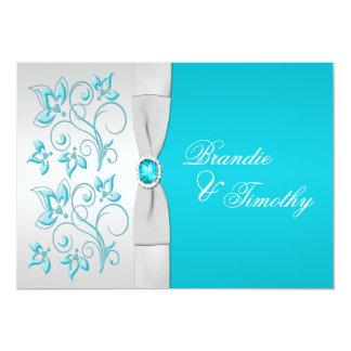Turquoise IMPRIMÉE de RUBAN, mariage floral Invitations