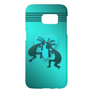 Turquoise Kokopellis avec le coeur Coque Samsung Galaxy S7