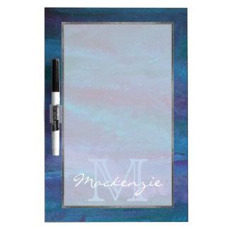 Turquoise pourpre bleue de monogramme énergique de tableaux effaçables à sec